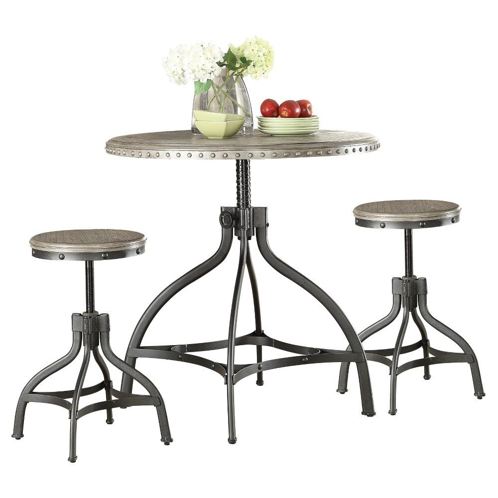 Acme Furniture Dining Table Set Oak Metal, Brown Gray