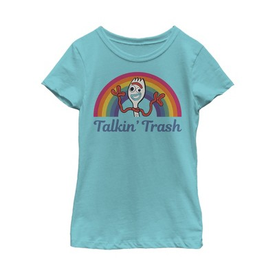 Girl's Toy Story Forky Talkin' Trash Rainbow T-Shirt