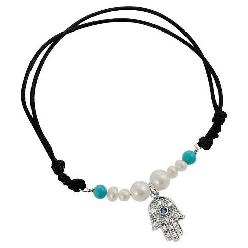 1/10 CT. T.W. Round-cut Multi-gemstone Charm Bead Set Bracelet in Sterling Silver - Silver/Black - image 1 of 3