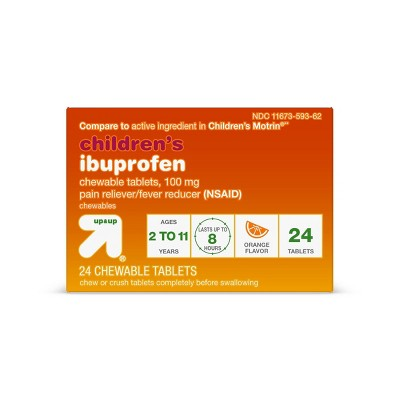 Junior Strength Ibuprofen (NSAID) Pain Reliever & Fever Reducer Chewable Tablets - Orange - 24ct - up & up™