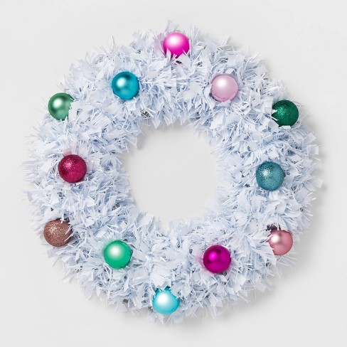 Christmas Tinsel Wreath with Shatterproof Ornaments White - Wondershop™ - image 1 of 1