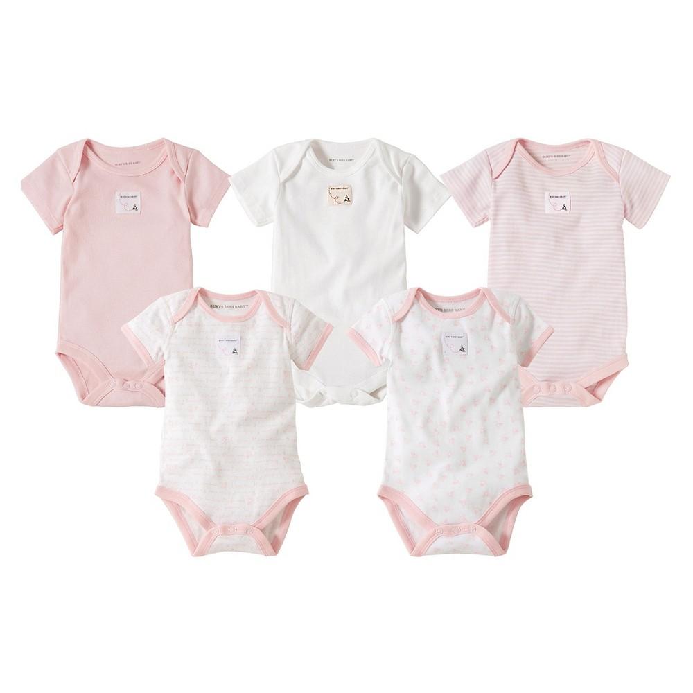 Burt S Bees Baby 8482 5 Pack Bee Essentials Short Sleeve Bodysuits Blossom 6 9m