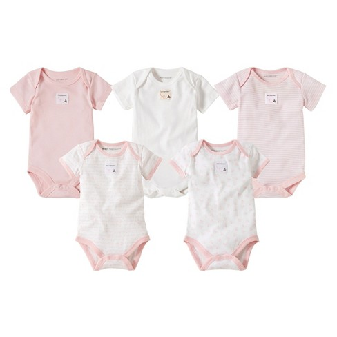 cceab3670 Burt's Bees Baby™ 5 Pack Bee Essentials Short Sleeve Bodysuits - Blossom 12M
