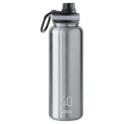 Takeya Originals 40oz Insulated Stainless Steel Water Bottle with Spout Lid - Steel