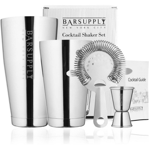 Boston Cocktail Professional  Shaker Set, 4-Piece Bar Set, Stainless Steel 304, 28oz/18oz Weighted Shaker Tins, Hawthorne Strainer, Double Sided Jigger, Recipe Booklet, Bartender Kit - Silver - image 1 of 4
