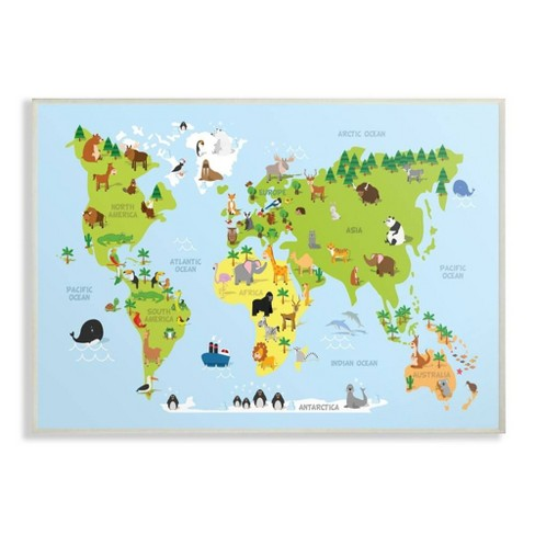 "10""x0.5""x15"" World Map Cartoon and Colorful Wall Plaque Art - Stupell Industries - image 1 of 3"