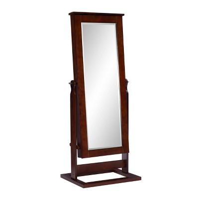 Chiara Cheval Mirror/Jewelry Wardrobe Walnut - Powell Company