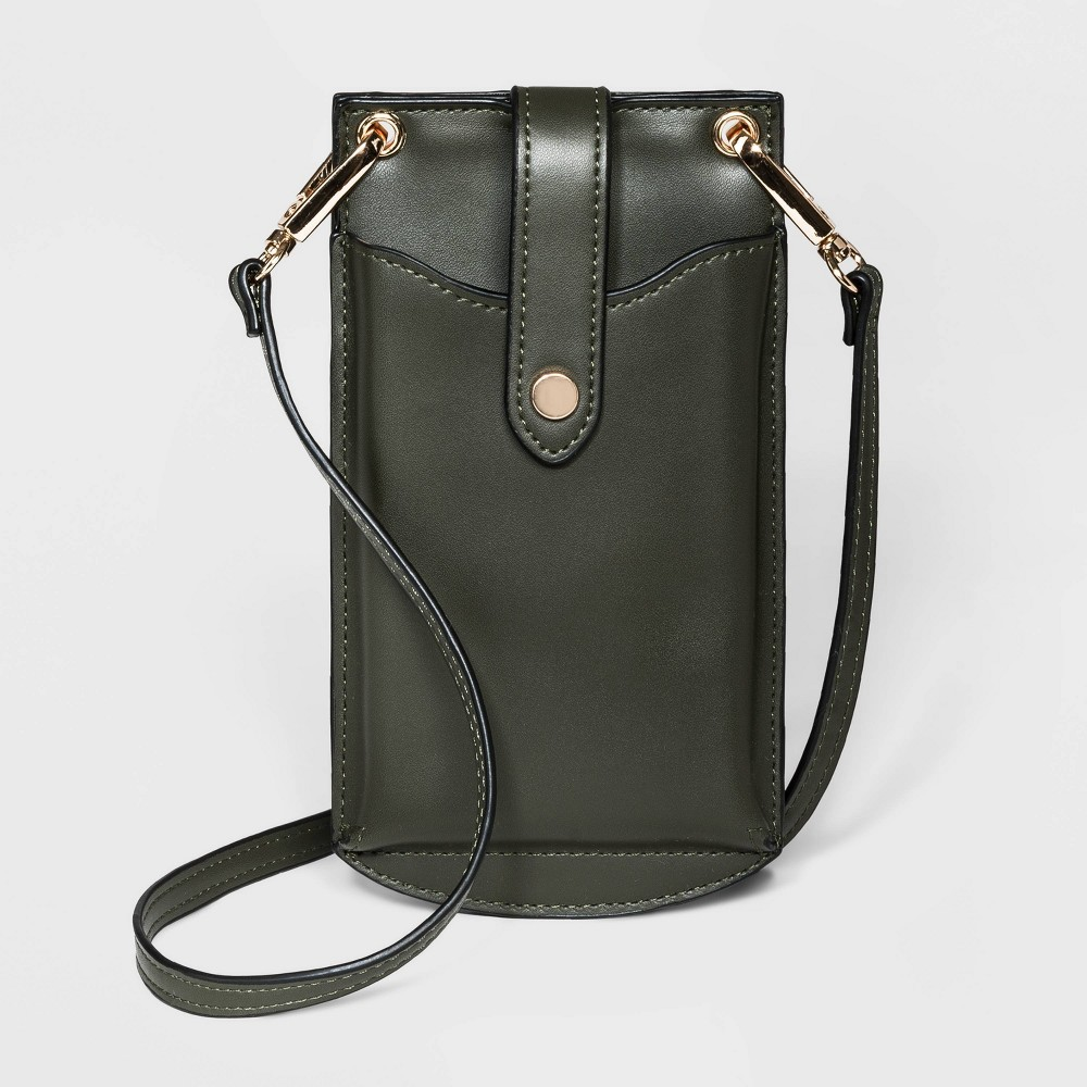 Snap Closure Vertical Wallet On String Crossbody Bag A New Day 8482 Green