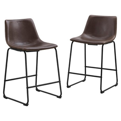Faux Leather Dining Kitchen Counter Stools Set of 2 - Brown - Saracina Home