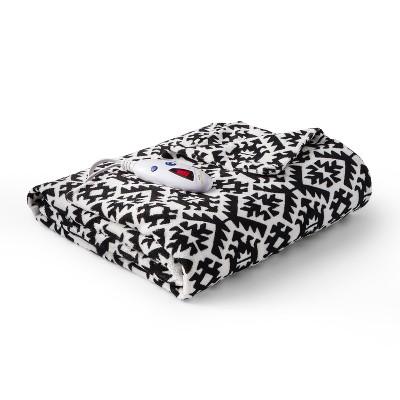 Microplush Electric Heated Aztec Throw (62 x50 )Black/White - Biddeford Blankets