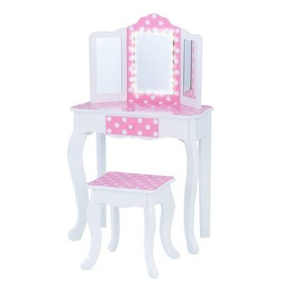 Fashion Polka Dot Gisele Play Vanity Set with Led Mirror - Teamson Kids