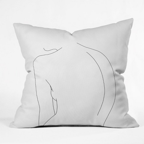 The Colour Study Figures Drawing Square Throw Pillow White - Deny Designs - image 1 of 1