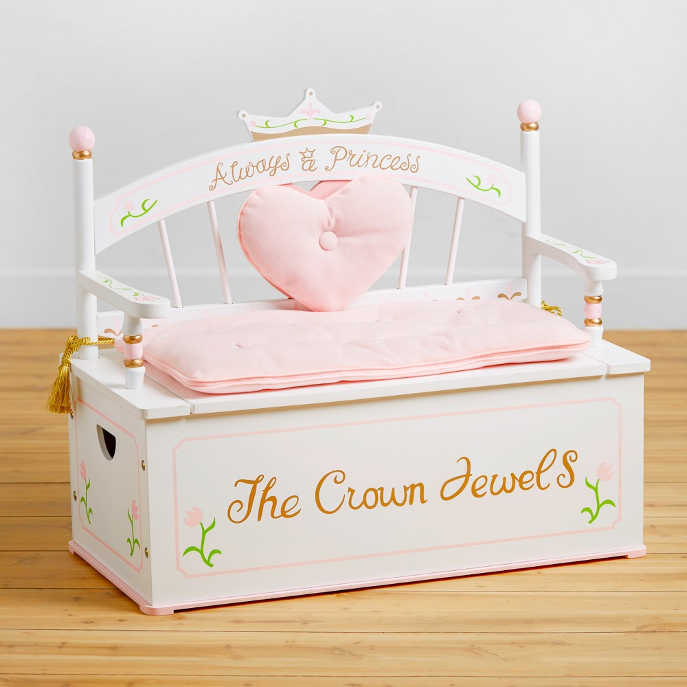 Image of Princess Bench Seat with Storage White - Wildkin