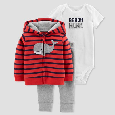 Baby Boys' 3pc Whale Cardigan Set - Just One You® made by carter's Red/Navy 9M