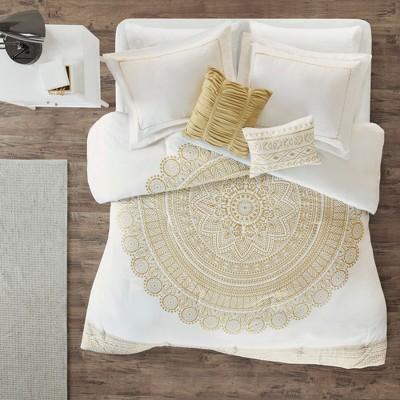 5pc Full/Queen Brielle Metallic Printed Comforter Set Gold