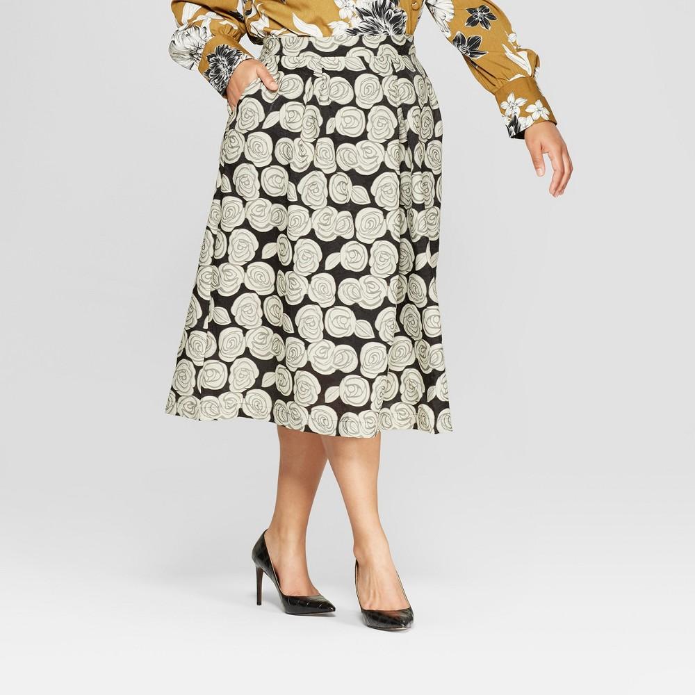 Women's Plus Size Floral Print Birdcage Midi Skirt - Who What Wear Black 18W, Black Floral