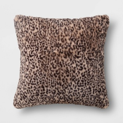 Leopard Faux Fur Square Throw Pillow Neutral - Threshold™