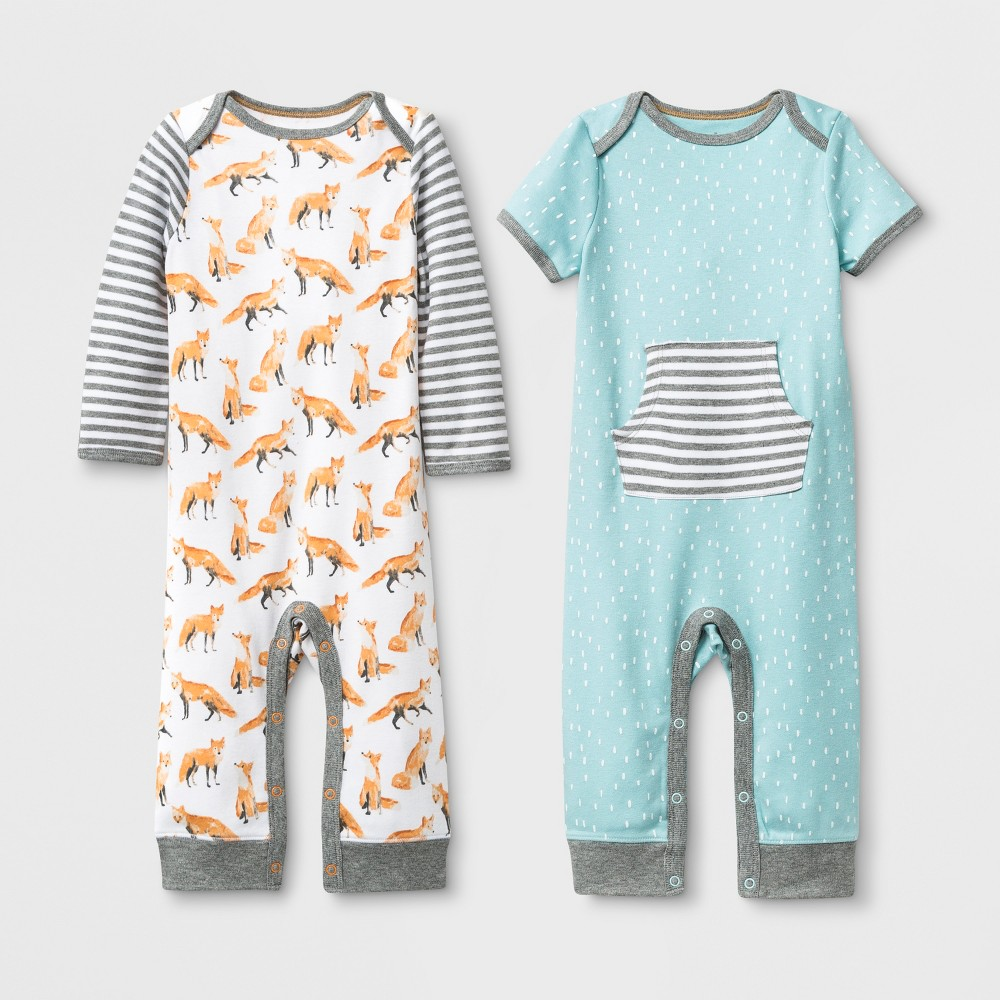 Image of Baby 2pk Rompers - Cloud Island 0-3M, Kids Unisex, MultiColored