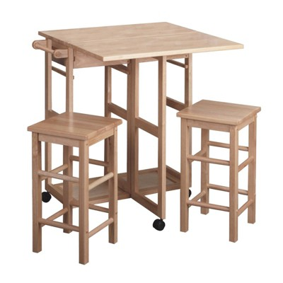 3pc Suzanne Space Save Extendable Dining Table Set Beech - Winsome