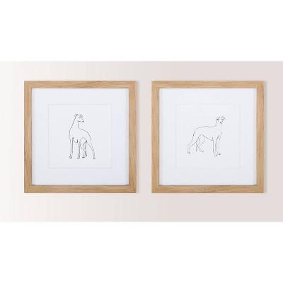 "(Set of 2) 12"" x 12"" Grayhound Sketch Framed Wall Art Black - Threshold™"