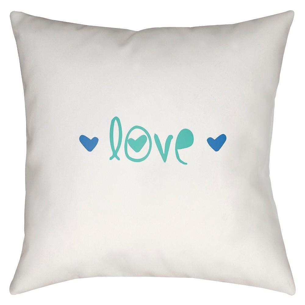 Teal Love Notes Throw Pillow 18