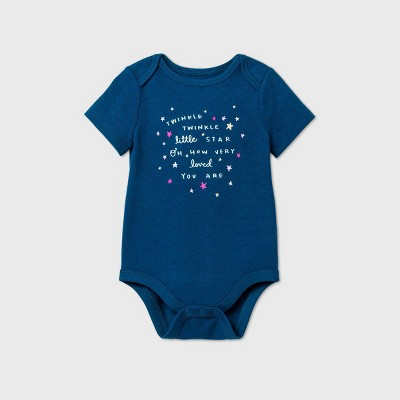 Baby Girls' 'Twinkle Twinkle' Short Sleeve Bodysuit - Cat & Jack™ Blue 0-3M