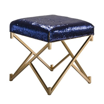Sapphire Sequin Stool with Metal Gold Legs Blue - Glitzhome