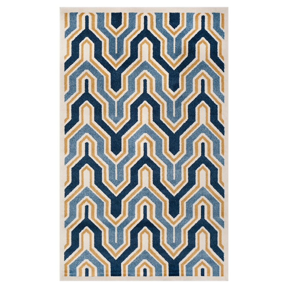 Ivory/Gold Abstract Loomed Area Rug - (4'x6') - Safavieh, White