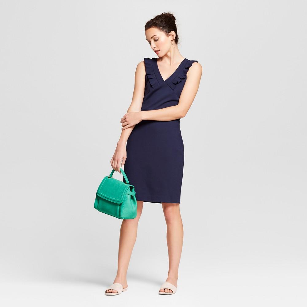 Women's Sleeveless Ponte Ruffle V-Neck Sheath Dress - A New Day Navy (Blue) XS