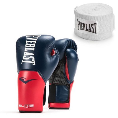 Everlast Navy/Red Elite Boxing Gloves 14 Ounce & 120-Inch Hand Wraps