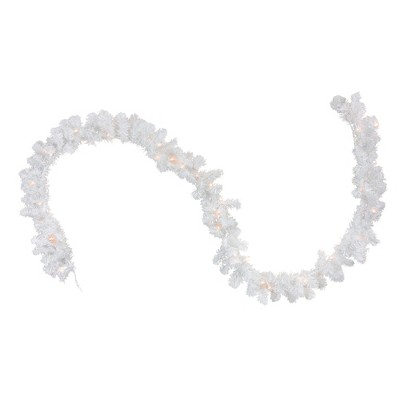 """Northlight 9' x 12"""" Prelit Snow White Artificial Christmas Garland - Clear Lights"""