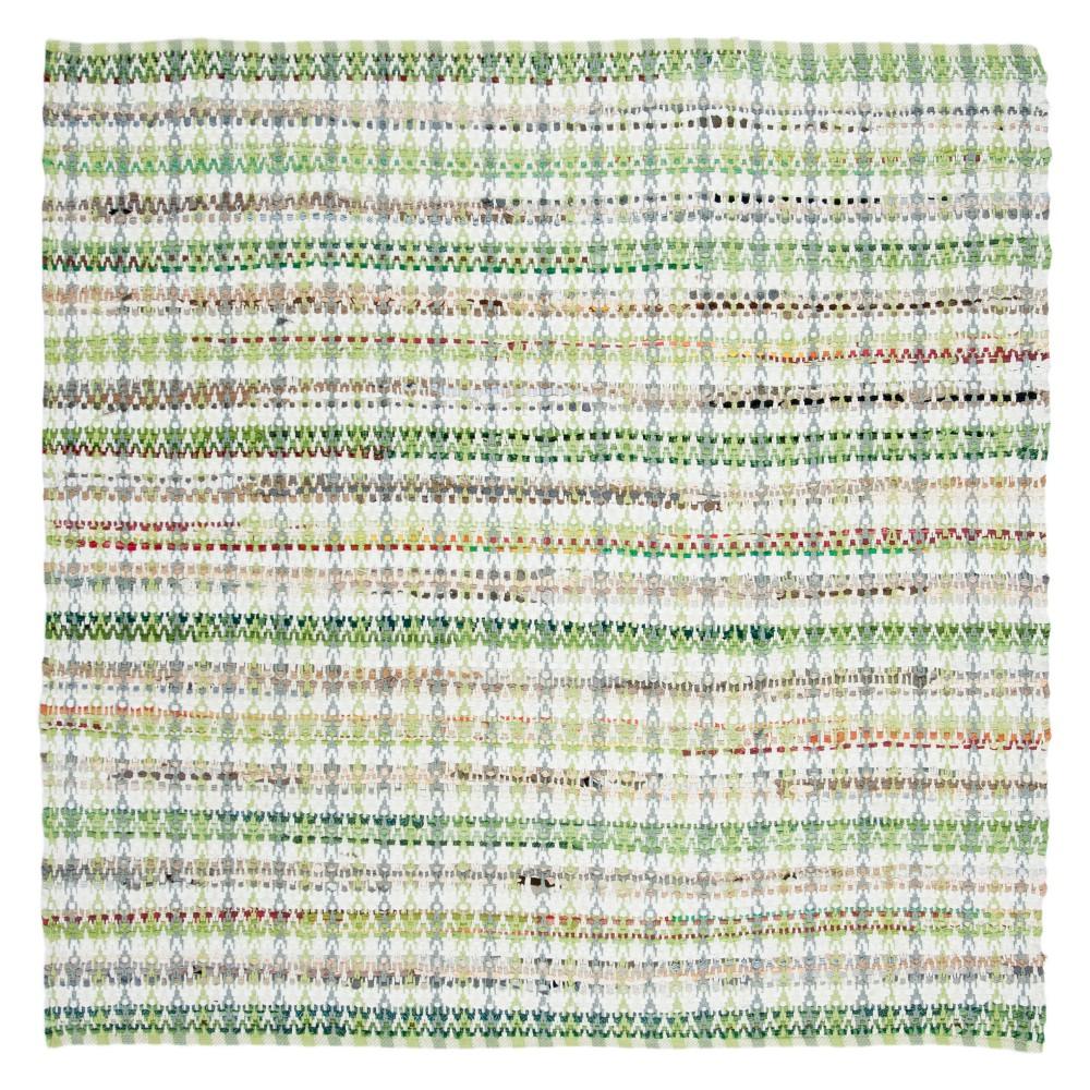 Green Stripe Woven Square Area Rug 6'X6' - Safavieh