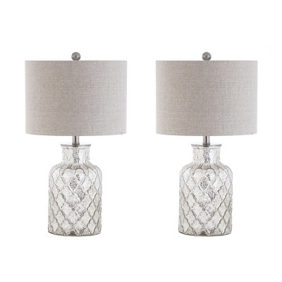 24.5  Alvord LED Glass Table Lamp Set Of 2 Silver (Includes Energy Efficient Light Bulb)- JONATHAN Y