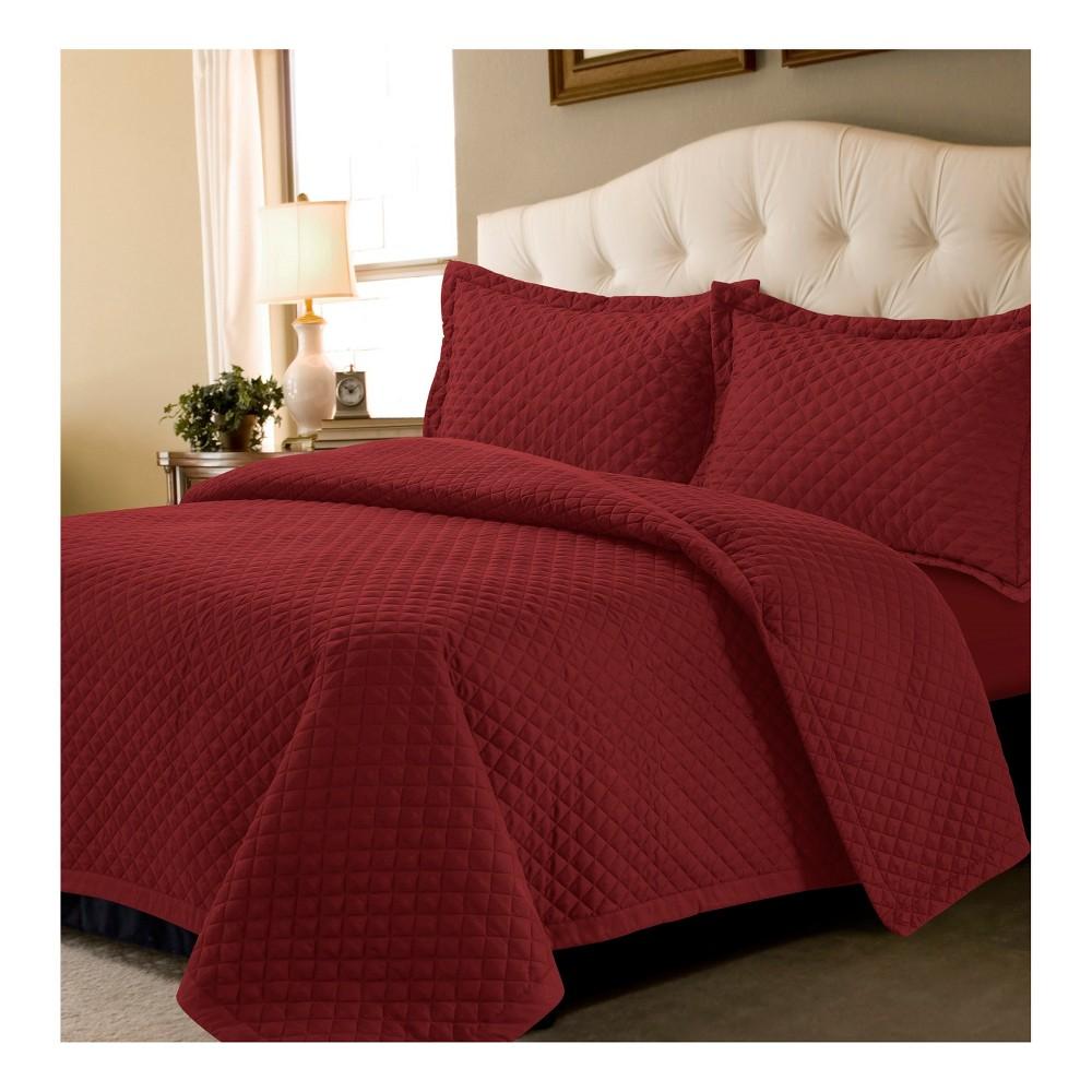 Deep Red Brisbane Solid Oversized Diamond Quilt Set (King) - Tribeca Living
