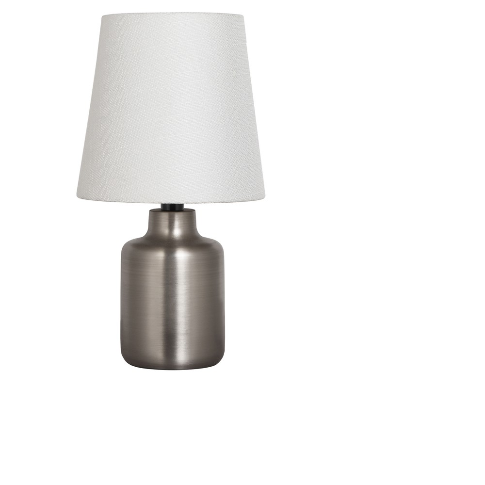 Image of Metal Base Table Lamp Silver with White Shade (Includes Energy Efficient Light Bulb) - Adesso