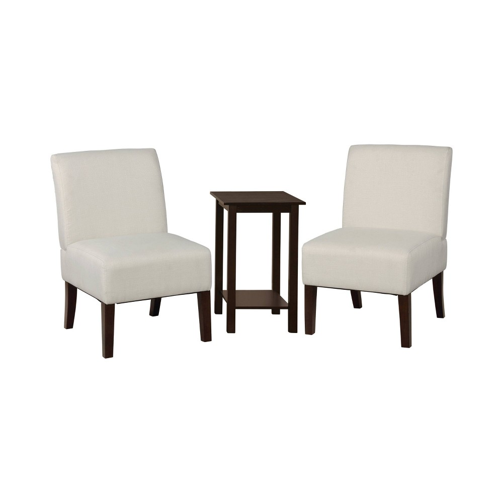 Image of 3pc Chastain 2 Chairs 1 Accent Table Wood & Vinyl Beige - miBasics