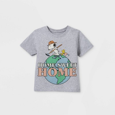 Girls' Peanuts Snoopy 'Home Sweet Home' Short Sleeve T-Shirt - Gray