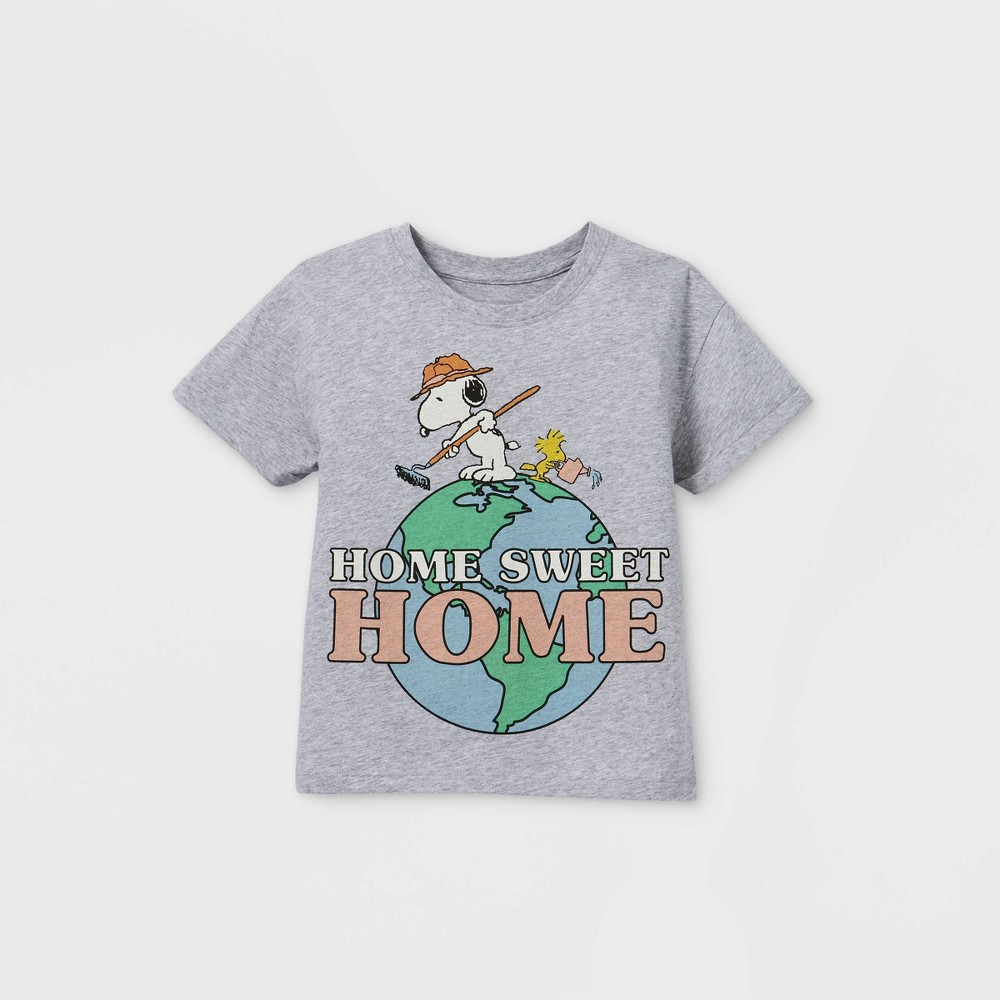 Girls 39 Peanuts Snoopy 39 Home Sweet Home 39 Short Sleeve T Shirt Gray S