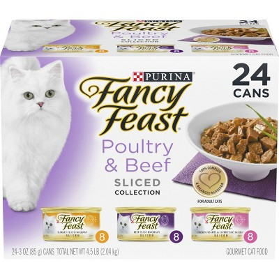 Purina Fancy Feast Sliced Poultry & Beef Collection Gourmet Wet Cat Food - 3oz/24ct Variety Pack