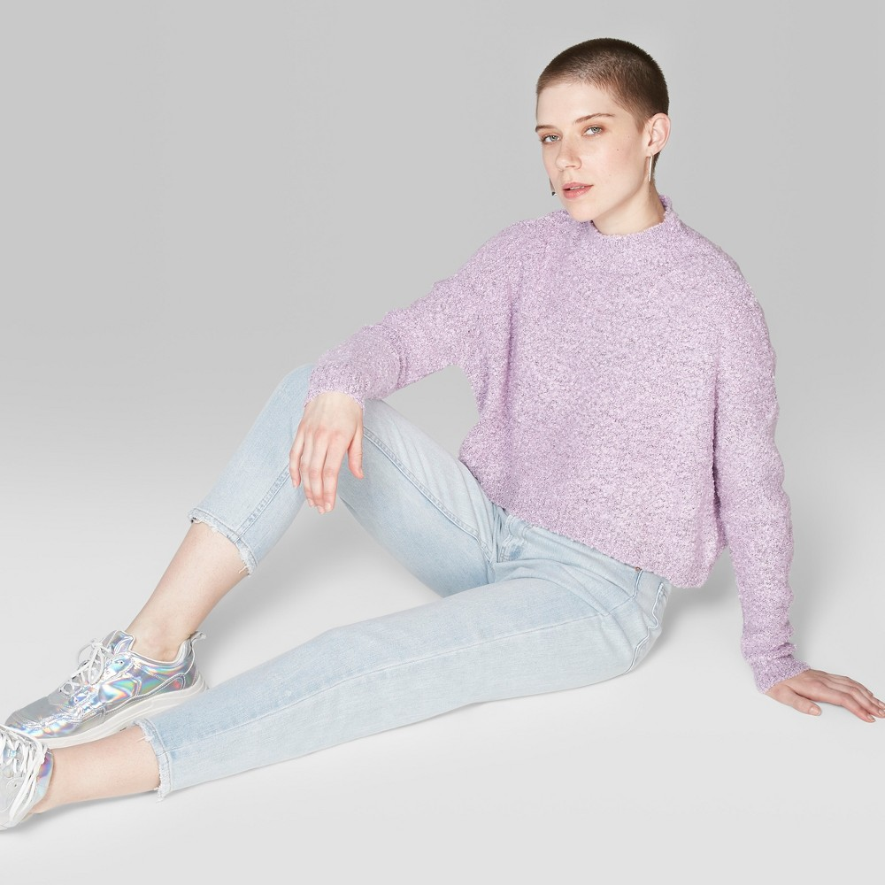 Women's Oversized Boucle Cropped Mock Neck Pullover - Wild Fable Lavender (Purple) L