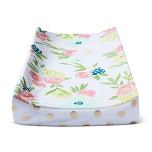 Plush Changing Pad Cover Floral - Cloud Island Gold, Pink