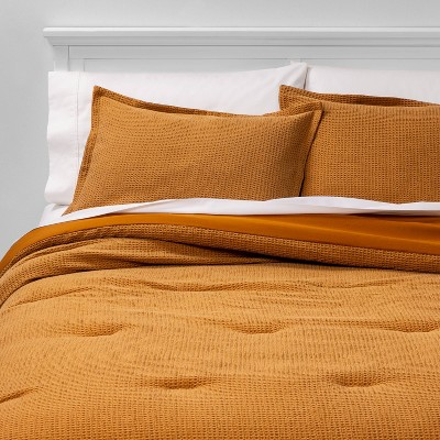 Full/Queen Washed Waffle Weave Comforter & Sham Set Yellow - Threshold™