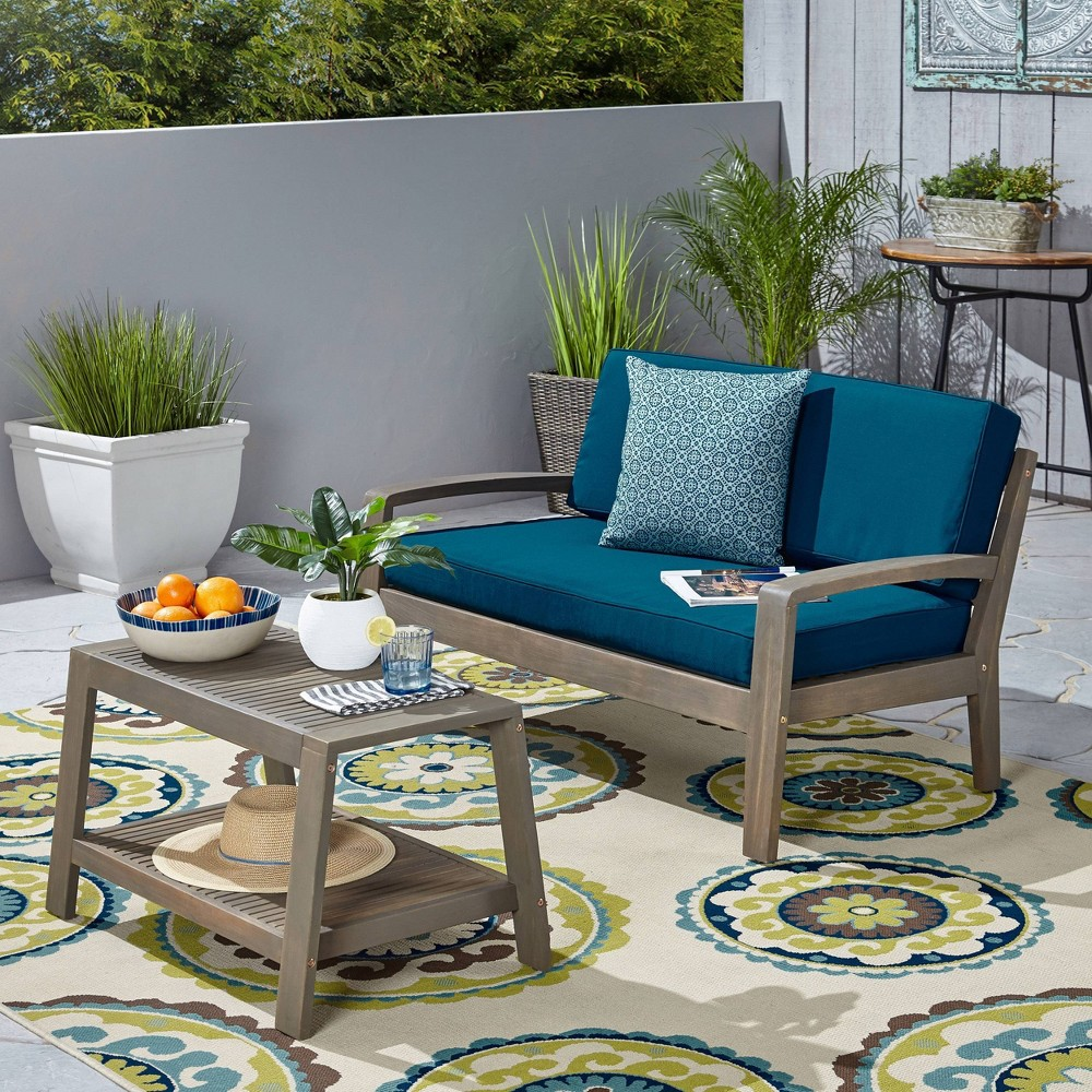 Image of 2pc Grenada Acacia Wood Patio Chat Set Gray - Christopher Knight Home