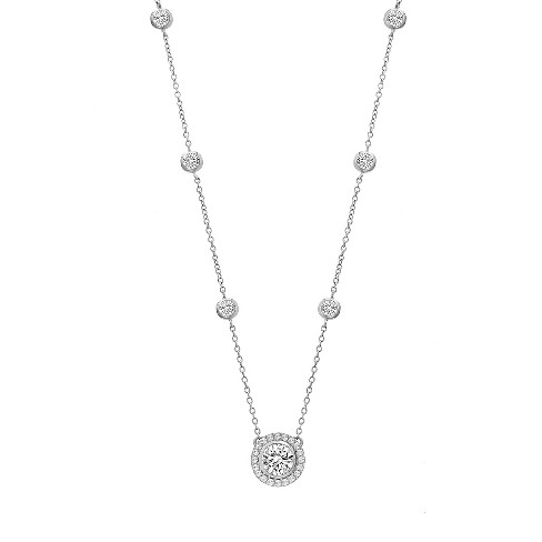 18K White Gold Sterling Silver Cubic Zirconia Pendant Bezel Charms Necklace - image 1 of 4