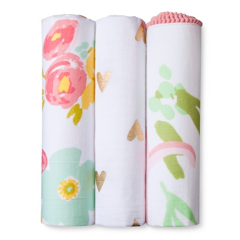Muslin Swaddle Blankets Floral 3pk - Cloud Island™ Pink - image 1 of 3