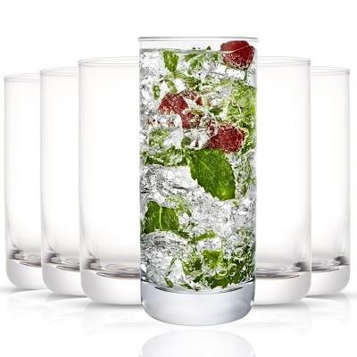 JoyJolt Faye Highball Glasses - Set of 12 Tall Crystal Cocktail Drinking Glassware - 13 oz
