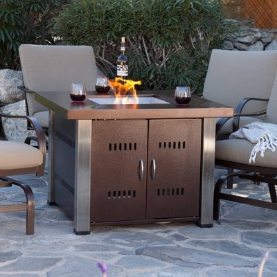 Square Powder Coated Steel Propane Fire Pit - Brown - AZ Patio Heaters