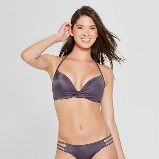 Women's Dream Lightly Lined Halter Bikini Top - Shade & Shore™ Purple Steel 36B