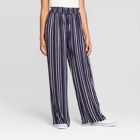 Women's Striped Tie Front Paperbag Waist Palazzo Pants - Xhilaration™ Navy - image 1 of 2