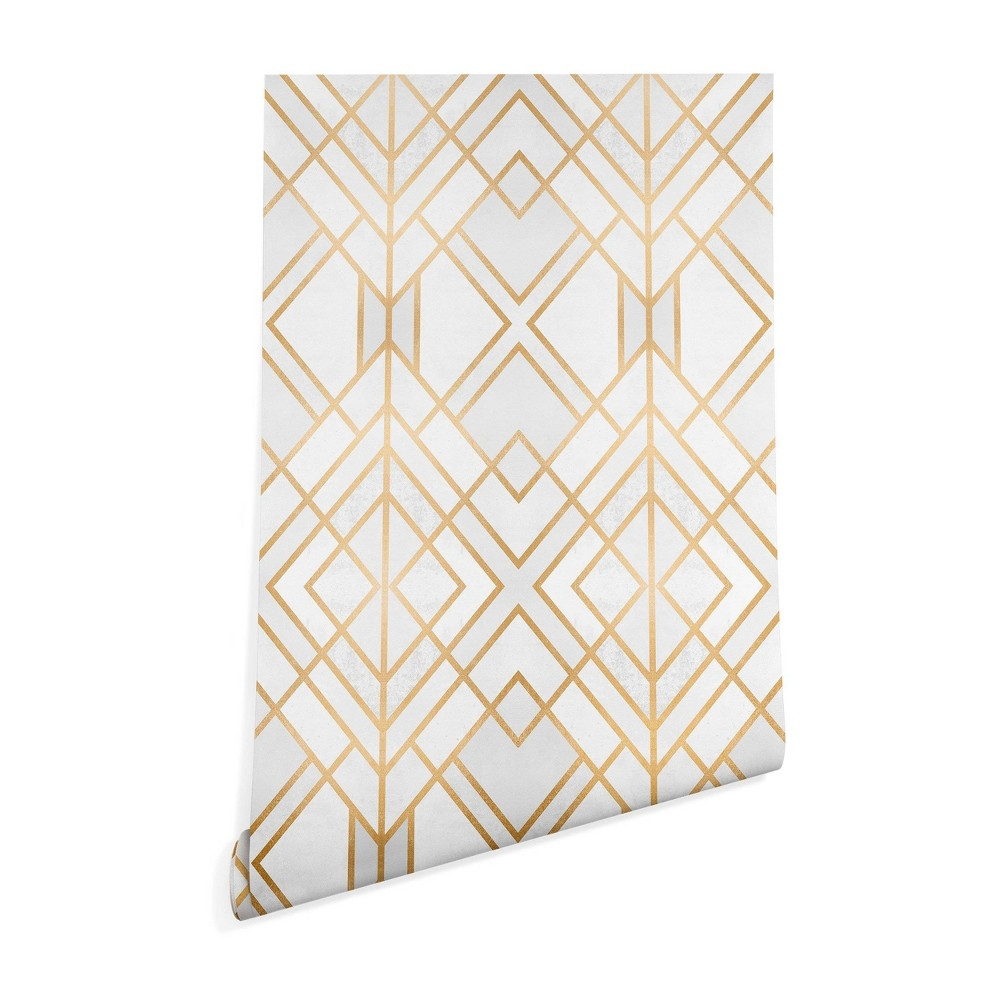"Image of ""2"""" x 10"""" Elisabeth Fredriksson Golden Geometric Wallpaper Yellow - Deny Designs, Size: 2"""" x 10"""""""